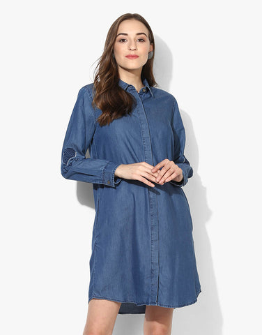 Full Sleeve Denim Dress With Embroidered Details