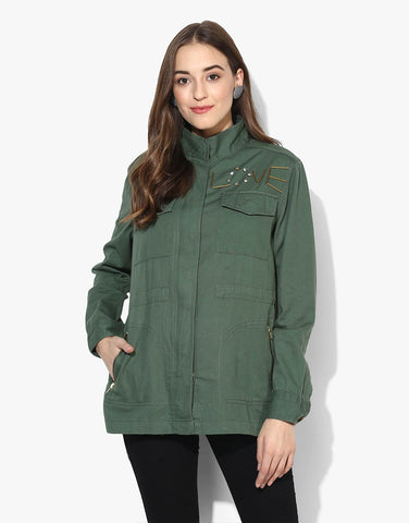 Full Sleeve Embillished Parka Jacket