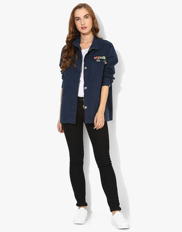Full Sleeve Navy Parka Jacket