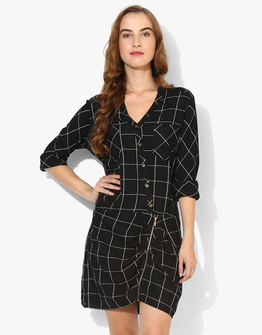 Full Sleeve Shirt Dress With Front Zipper