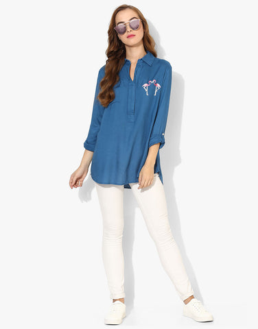 Full Sleeve Shirt With Flamingo Embroidery