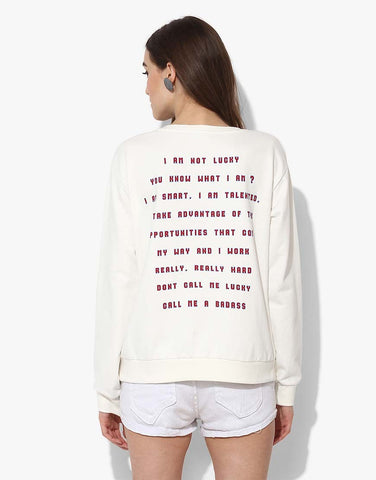 Full Sleeve Sweatshirt With Slogan Print
