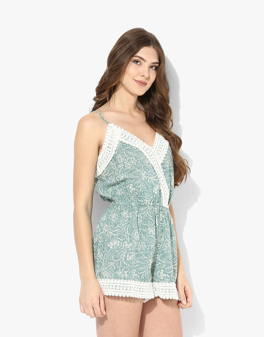 Green Cotton Printed Playsuit