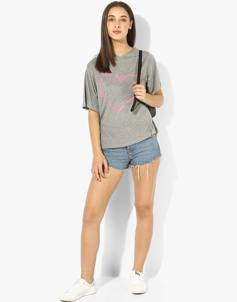 Grey Hoodie T Shirt with Heart Print