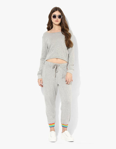 Grey Melange Fleece Printed Joggers