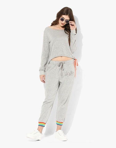 Grey Melange Fleece Sweatshirt