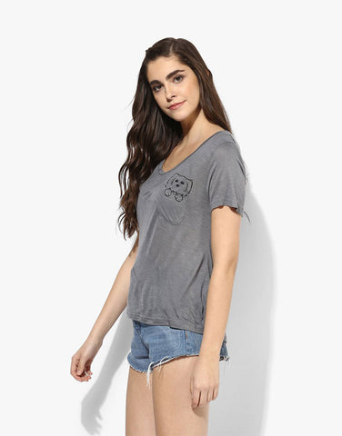 Grey Viscose Slub Jersey Dog Tee