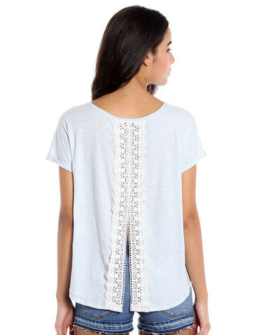 Icy Blue Jersey Lace Back Short Sleeve Top
