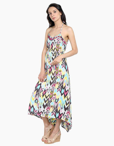Ikat Print Rayon Halter Maxi Dress