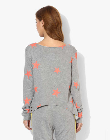 Full Sleeve Crop Sweatshirt With Orange Printed Stars
