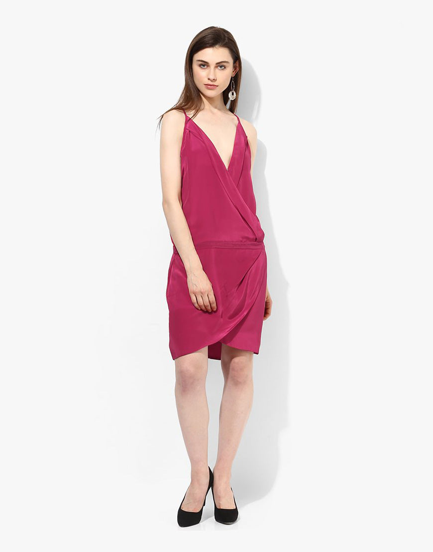 Magenta Synthetic Sleeveless Dress