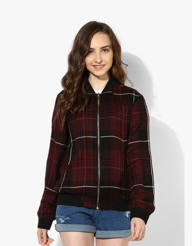 Maroon Viscose Plaid Bomber Western Top Jacket For Women