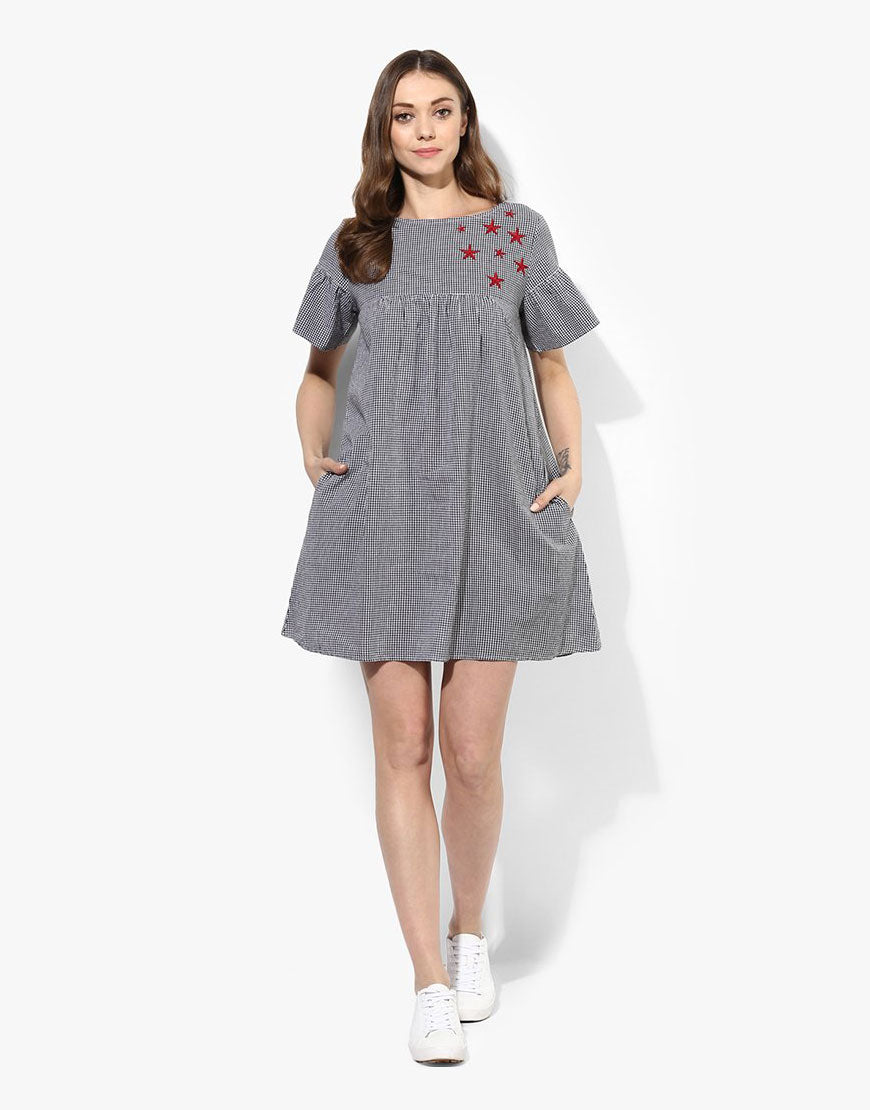 Multi Cotton Gingham Dress