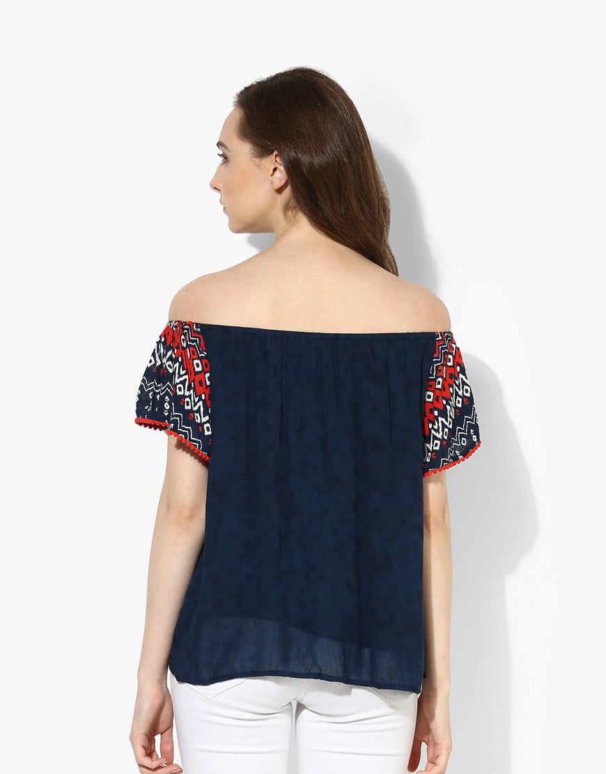 Multi Print Rayon Crepe Off Shoulder Western Style Top For Women