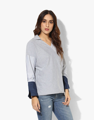 Multi Stripe Cotton Crossover Western Design Shirt For Women