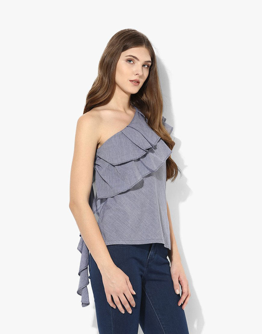 Multi Stripe Cotton One Shoulder Frill Top