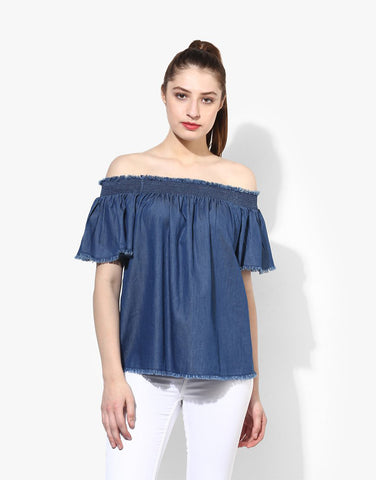 Navy Blue Off Shoulder Denim Top