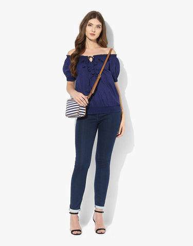 Navy Cotton Dobby Off Shoulder Top