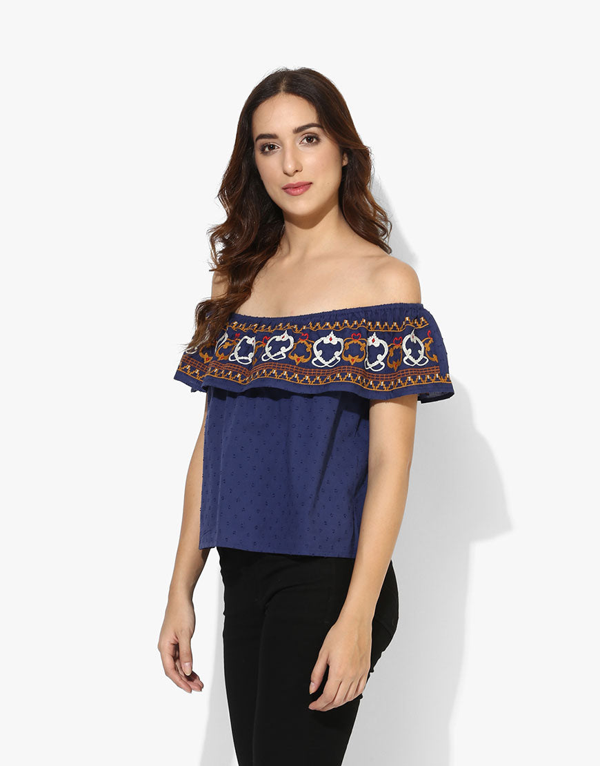 Navy Cotton Off Shoulder Embroidered Western Wear Top For Women