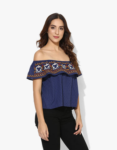 6c22d9c18f53 ... Navy Cotton Off Shoulder Embroidered Western Wear Top For Women ...
