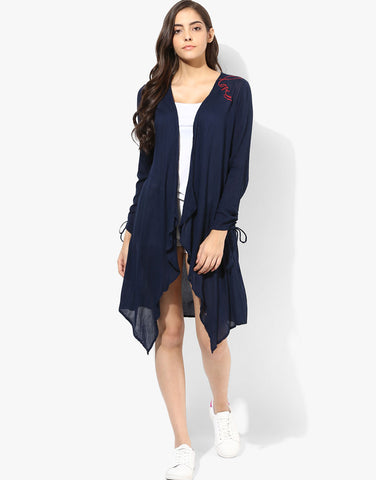 Navy Embroidered Boho Cover Up