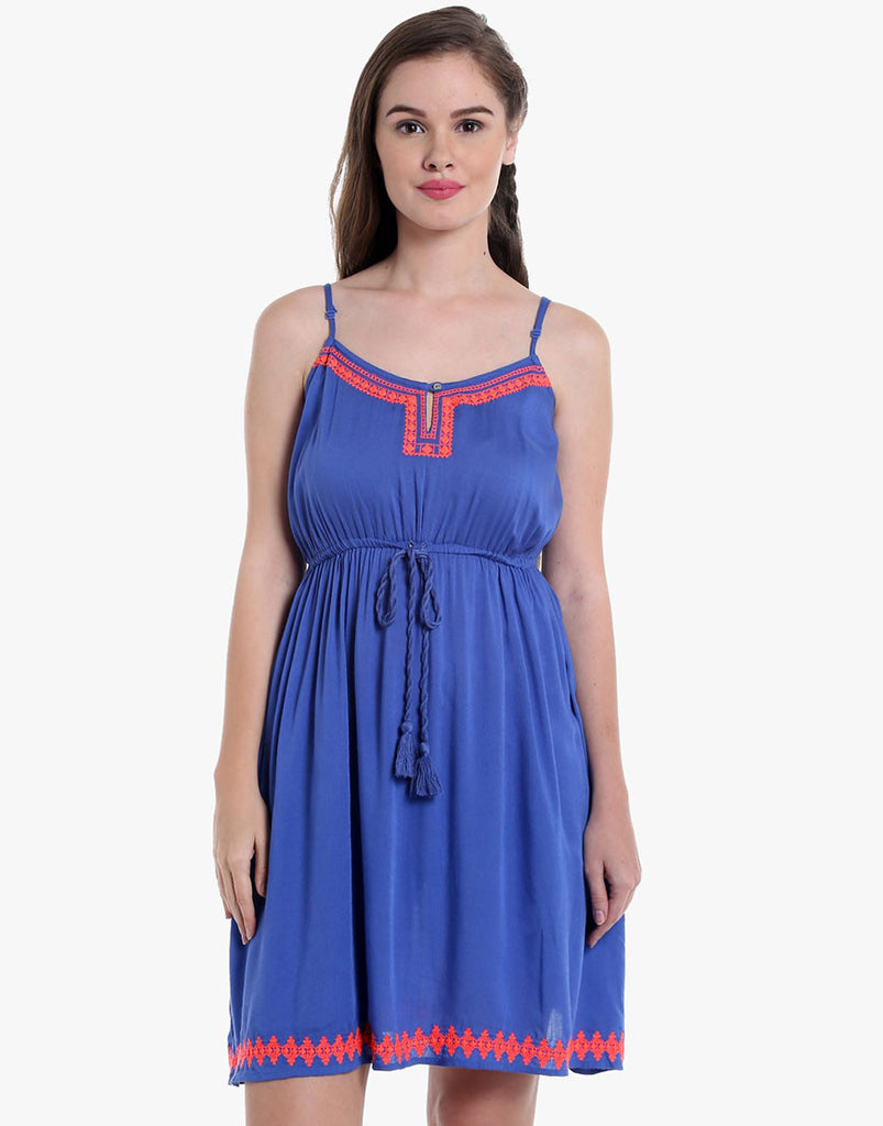 Navy Rayon Embroiered Dress