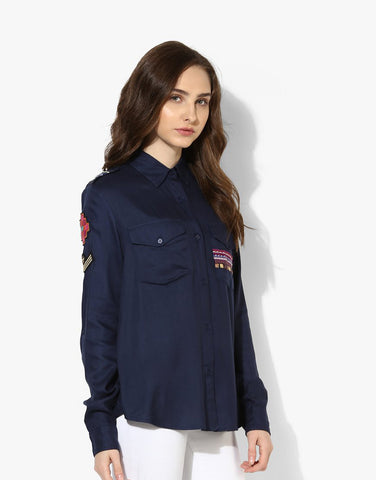 Navy Viscose Twill Embroidered Western Shirt Online Shopping