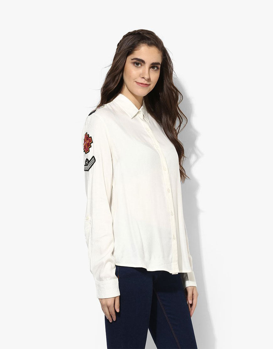 Off White Viscose Twill Shirt