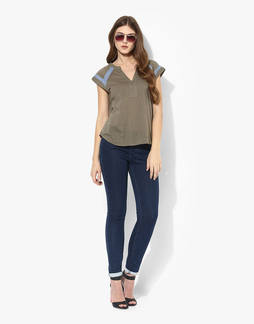 Olive Cotton Dobby Top