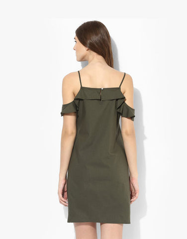 Olive Cotton Poplin Ruffle Dress