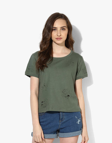 Olive Looper Knit T-Shirt With Criss-Cross Tie-Up
