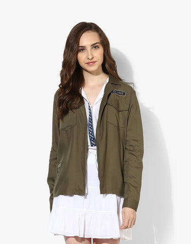 Olive Tencel Embroidered Jacket