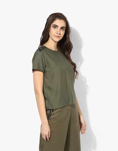 Olive Tencel Round Neck Top