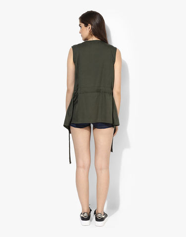Olive Tencel Sleeveless Jacket