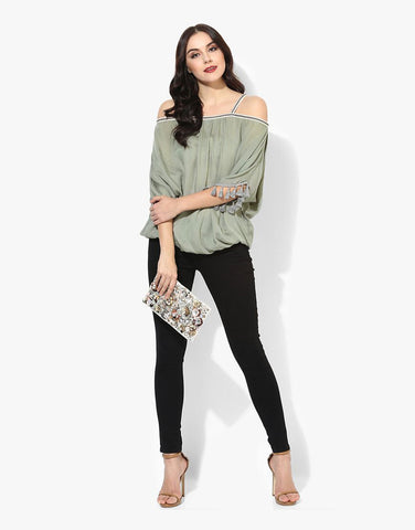 Olive Viscose Rayon Cold Shoulder Top
