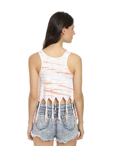 Orange & White Cotton Tie-Dye Tassel Crop Top