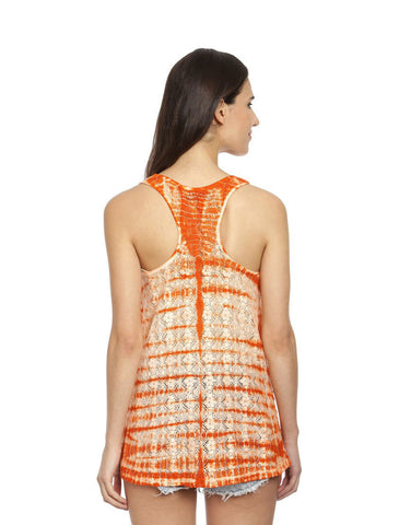 Orange & White Cotton Knit Tie-Dye Racer Back Top