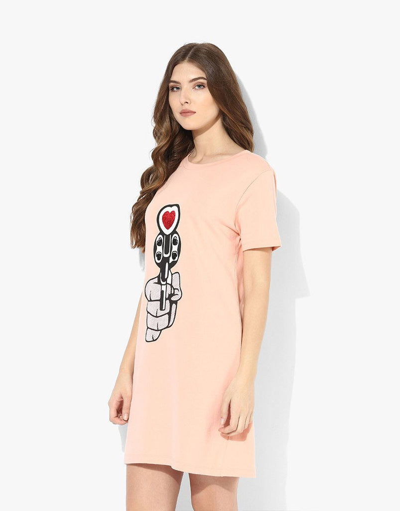Peach Fleece Gun Printed T-Shirt Dress