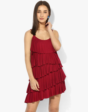 Pink Viscose Layered Fringe Mini Dress