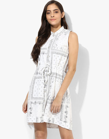 Printed Shirt Dress with Elasticated Waist