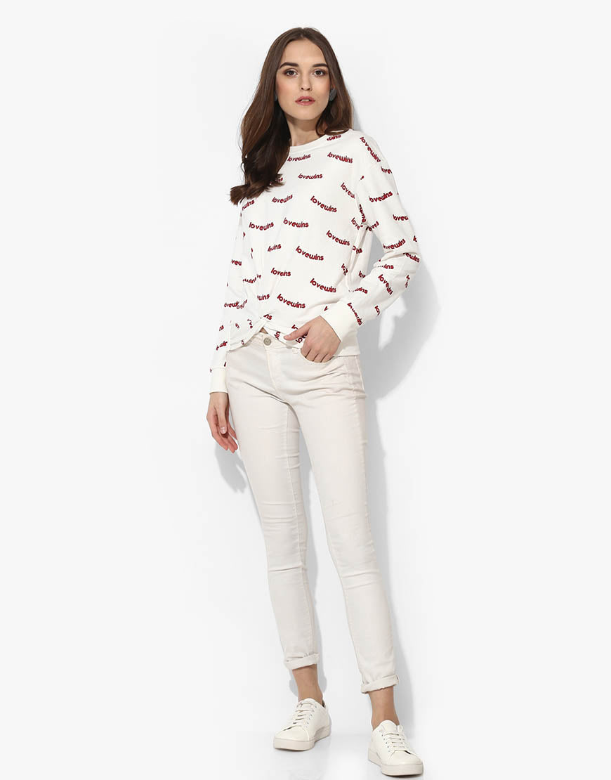 Printed Sweatshirt With Front Knot Detail