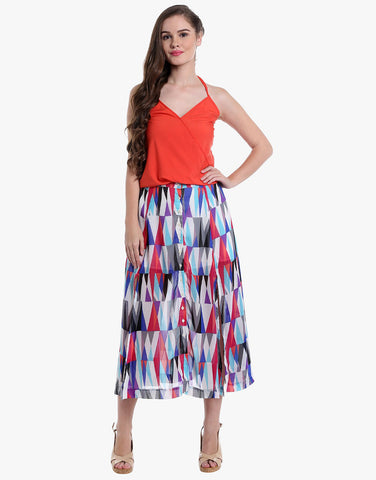 Pyramid Print Georgette Buttoned Down Slit Skirt