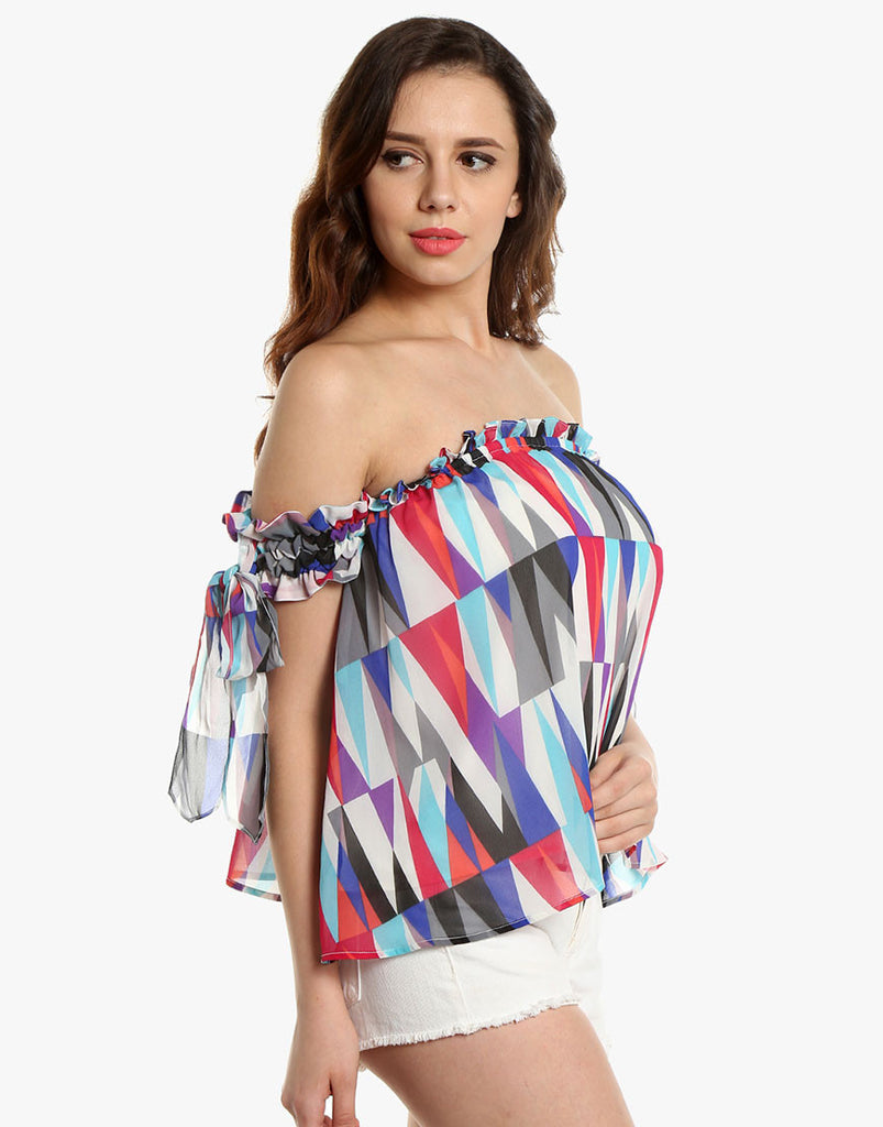 Pyramid Printed Georgette Off-Shoulder Top