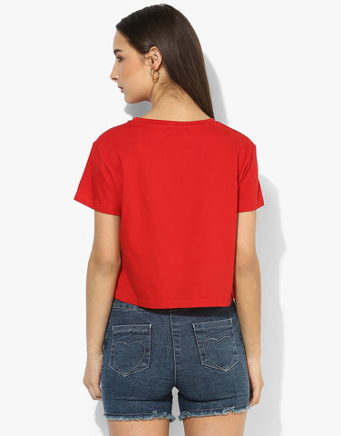 Red Cotton Crop Jersey Tshirt
