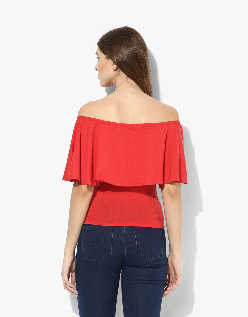 Red Cotton Lycra Off Shoulder Top