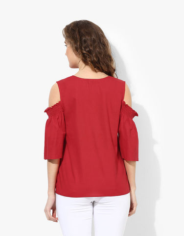 Red Cotton Poplin Cold Shoulder Top