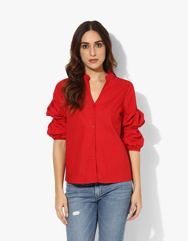 Red Cotton Shirt With Ruched Sleeves