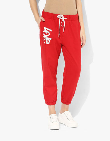 Red  Fleece Printed Joggers