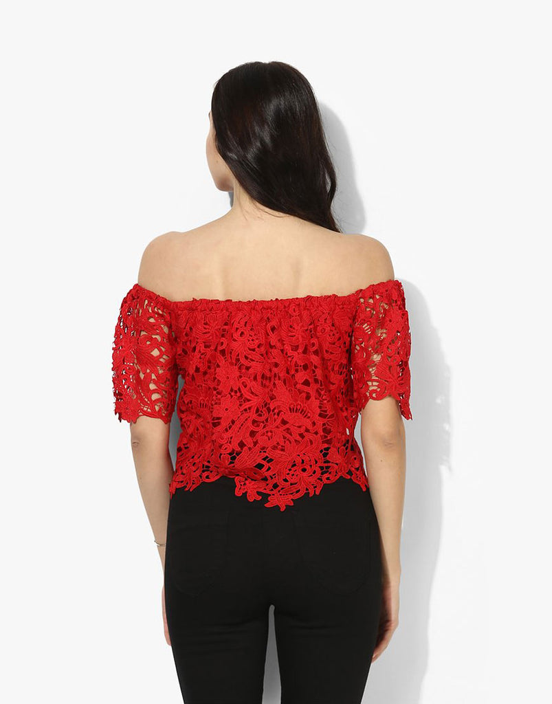Red Lace Off Shoulder Top