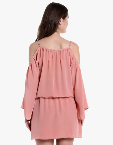 Rose Gold French Satin Cold Shoulder Dress
